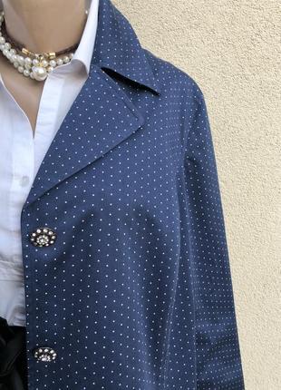 Синий в горохи плащ,тренч,легкое пальто,большой размер,батал