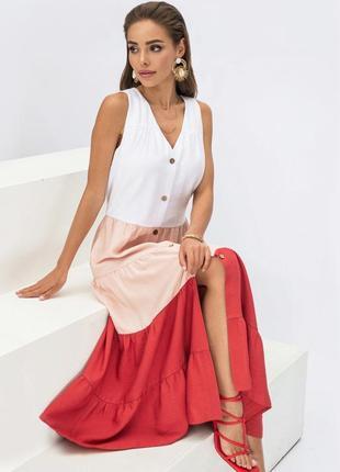 Новинка! разные цвета! стильное натуральное льняное хлопковое  трехцветное платье сарафан на пуговицах миди ниже колен длинное макси без рукава