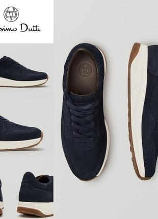 Темно-синие кожаные кроссовки из нубука massimo dutti