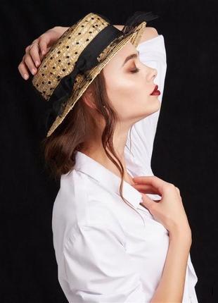 Соломенная шляпа 👒 с сеточкой в горошек женская шляпка