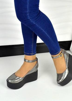 35-41 рр туфли на высокой танкетке, платформе натуральная замша/кожа