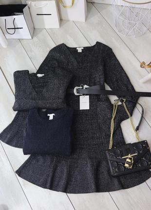 Платье трикотаж рубчик люрекс h&m