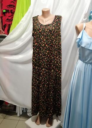 Платье сарафан из натуральной ткани штапель цветочный принт размер единый