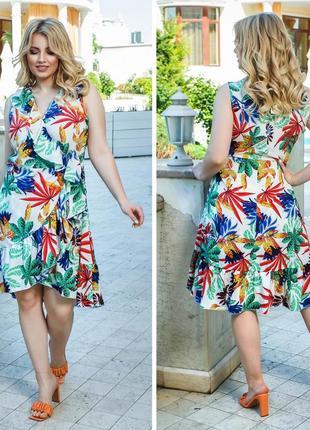 Платье летнее батал легкое на запах до колена белое цветочное нарядное