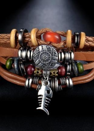 Кожаный браслет - женский, мужской, унисекс. многоярусный, кожа.