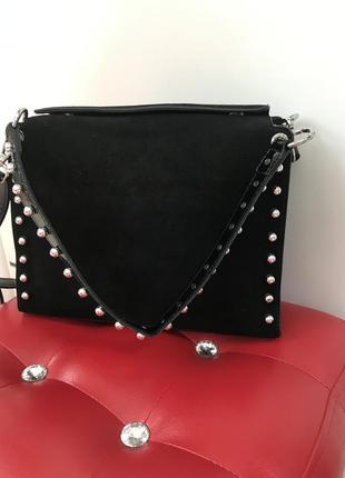 Замшевая сумочка сумка на плечо сумочка на две ручки кожаная сумка италия🔥