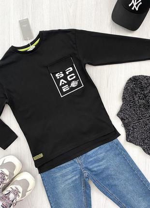 Распродажа! черный реглан кофта лонгслив со спущенным рукавом для мальчика piazza italia италия