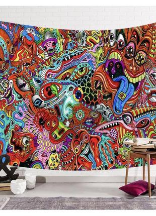Картина текстильная гобелен на стену психоделика №4
