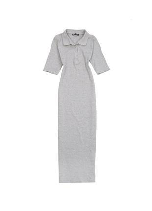 Платье миди по фигерке в обтяжку в рубчик с воротником длинное с рукавом