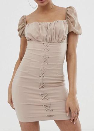 Новое летнее платье с бирками с рукавом фонарик брендовое со шнуровкой naanaa