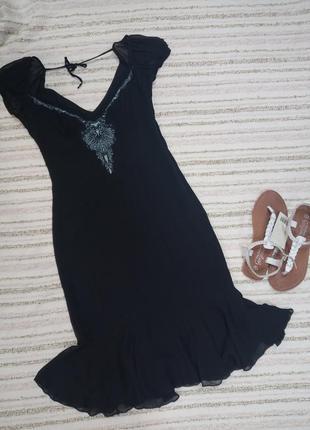 Английское шелковое черное платье