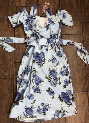 Новое летнее платье с бирками легкое с поясом с оборками англия 🏴
