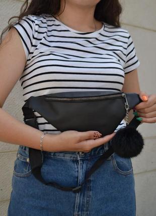 Мужская женская бананка / сумка через плечо на пояс / экокожа / барсетка