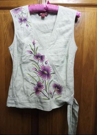 100% лен шикарная блуза без рукавов мятного цвета с вышивкой monsoon
