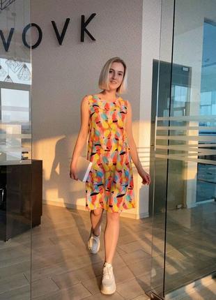 Платье-майка vovk принт яркие попугаи (xs) новое с биркой