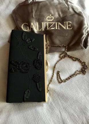 Galitzine italy. вечерняя сумочка, клатч с декором из бисера, на золотой цепочке.