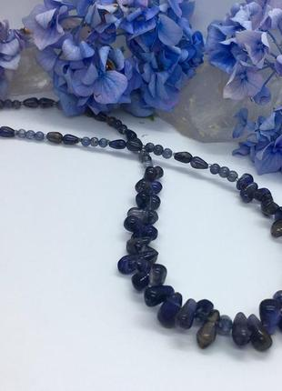 Ожерелье с натуральным иолитом, кордиерит или фиалковый камень