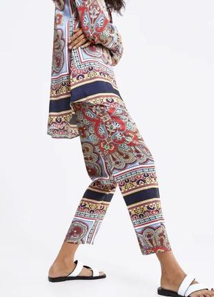 Штаны в пижамном стиле zara