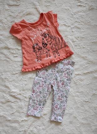 Милый летний комплект футболка и леггинсы на малышку