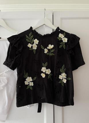 📎 черная блузка с прошвой zara 🖤