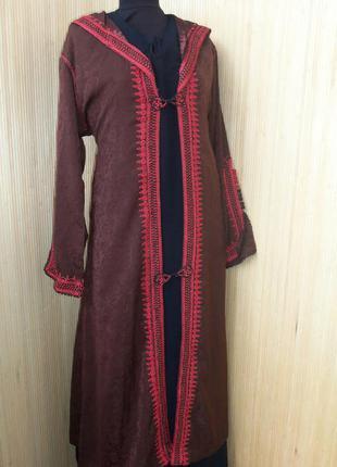 Винтажный кафтан кардиган/ накидка на длинное платье  с капюшоном l/xl