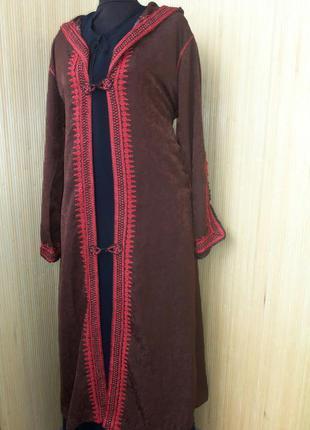 Винтажный кафтан кардиган/ накидка на длинное платье  с капюшоном l/xl2