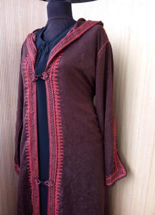 Винтажный кафтан кардиган/ накидка на длинное платье  с капюшоном l/xl5