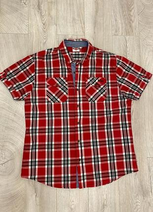 Рубашка lee cooper short sleeve check shirt mens red/black/whire