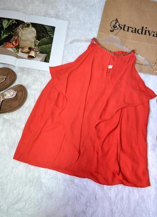 Шифоновая красная блуза в стиле stradivarius