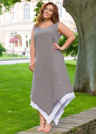 Женское платье сарафан с принтом большие размеры батал