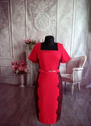 Мега стильное платье миди красное
