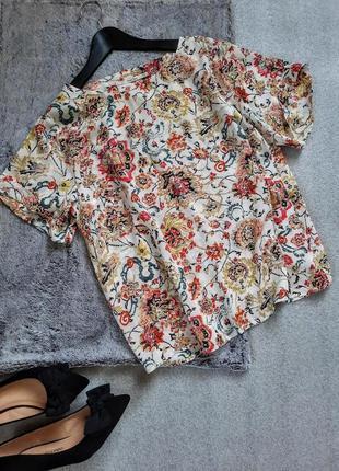Яркий легкий топ блуза оверсайз цветочный принт