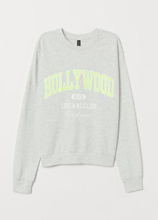 Серый свитшот оверсайз hollywood