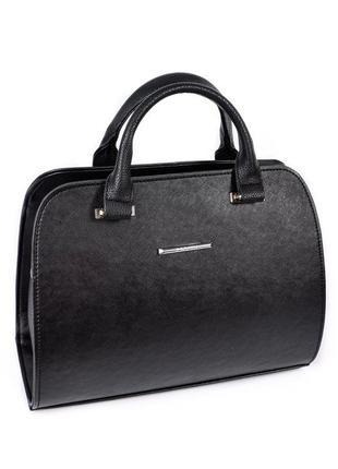 Черная женская овальная сумочка саквояж с ремешком на плечо