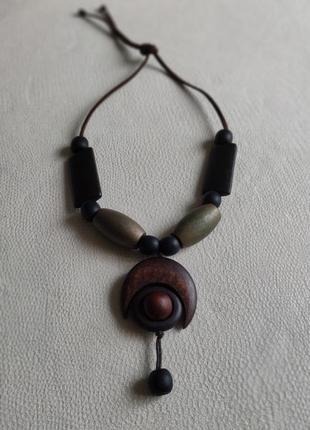 Деревянные бусы, ожерелье, колье, подвеска, намисто дерево в этностиле