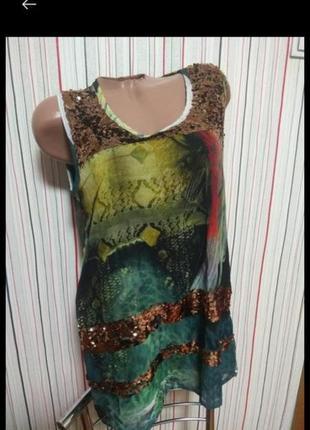 Нарядная майка в паетках,маечка блуза