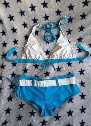 Купальник раздельный размер s, плавки шортиками, голубой лазурный цвет