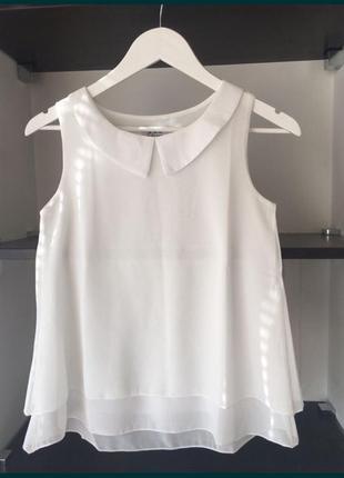 Летняя шифоновая офисная блузка топ с воротником питер пен