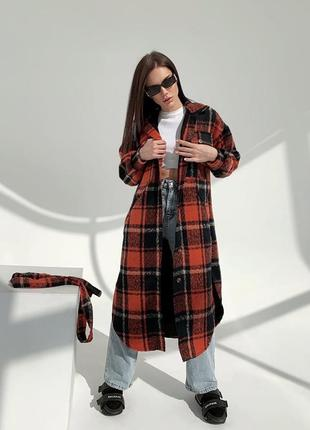 Ультрамодное кашемировое пальто клетка с поясом