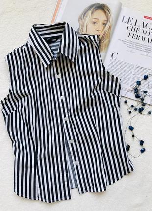 Черно белая рубашка хлопковая без рукавов h&m