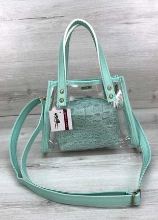 Женская прозрачная молодежная сумка с косметичкой aliri-582-05 мятного цвета