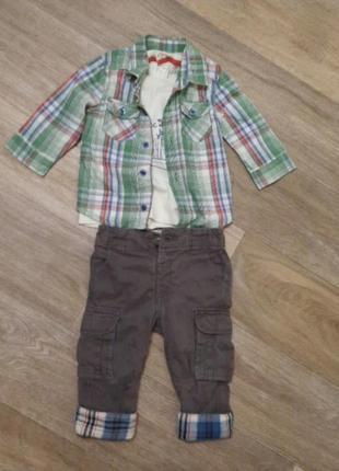 Костюм 12-18 для мальчика рубашка обманка и брюки с накладными карманами