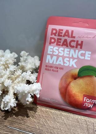 Real peach essence mask farmstay тканевая маска с экстрактом персика