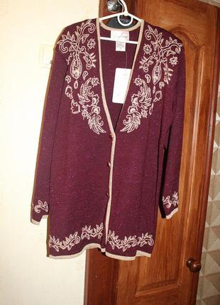 Кардиган винтажный свитер люрекс с вышивкой с золотой нитью jaclyn smith