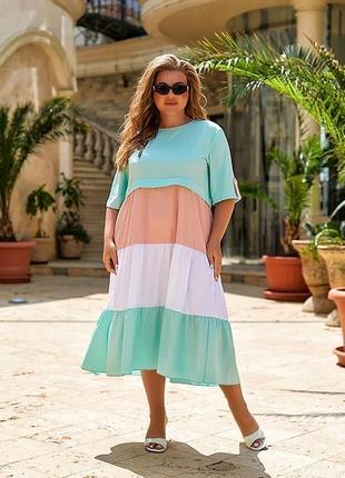Новое женское платье большого размера ментоловое мятное платье
