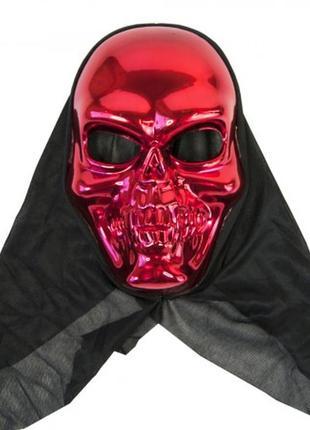 Маска череп в черном капюшоне хэллоуин