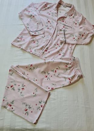 Пижама mark's & spencer розовая в цветочек размер хл