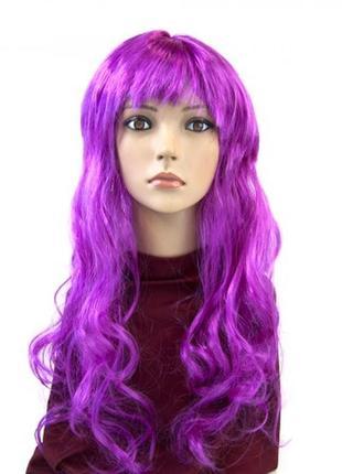 Парик маскарадный сиреневый волнистые волосы