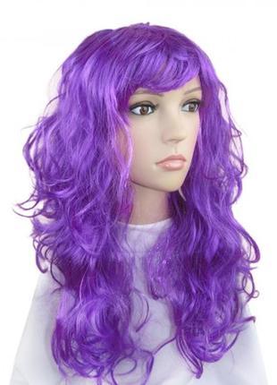 Парик маскарадный фиолетовый волнистые волосы