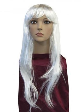 Парик маскарадный ровные белые волосы